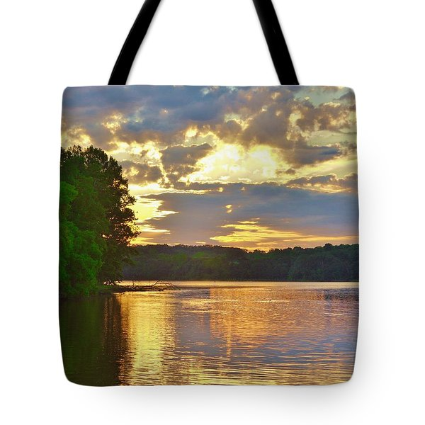 Sunrise At The Landing Tote Bag