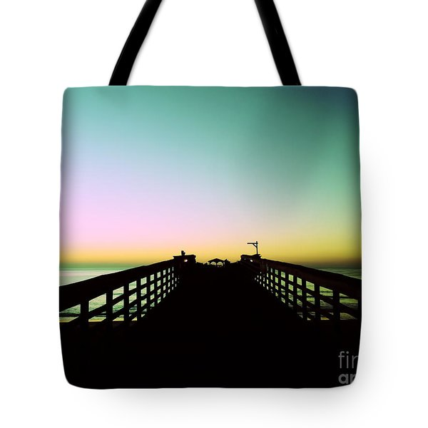 Sunrise At The Myrtle Beach State Park Pier In South Carolina Us Tote Bag