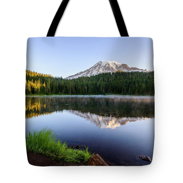 Mount Rainier Viewed From Reflection Lake Tote Bag