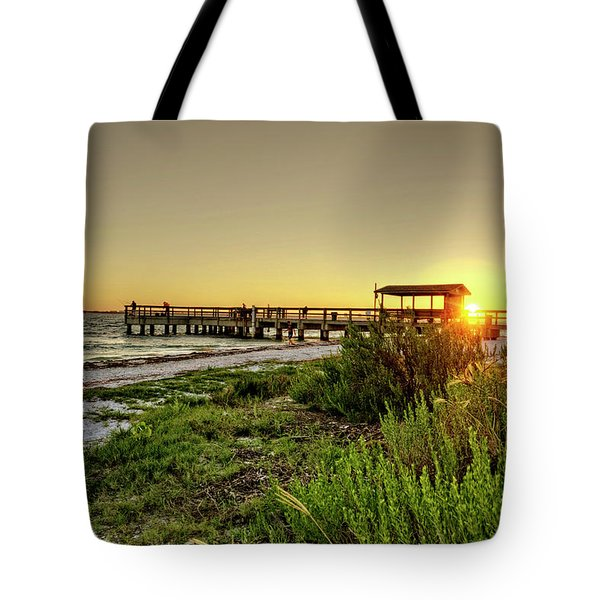Sunrise At The Sanibel Island Pier Tote Bag by Chrystal Mimbs