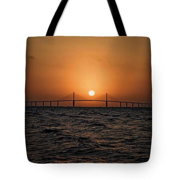 Sunrise At The Skyway Bridge 2 Tote Bag by Michael White