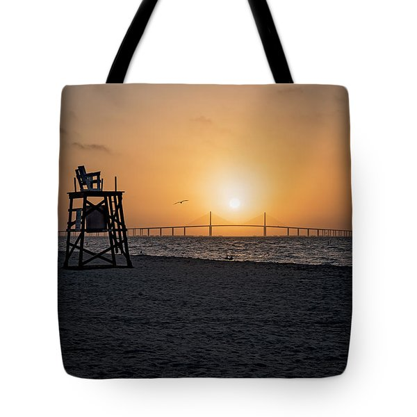Sunrise At The Skyway Bridge Tote Bag by Michael White