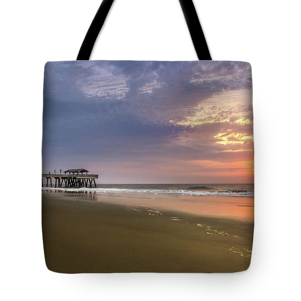 Sunrise At Tybee Island Pier Tote Bag