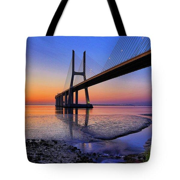 Sunrise At Vasco Da Gama Bridge Tote Bag