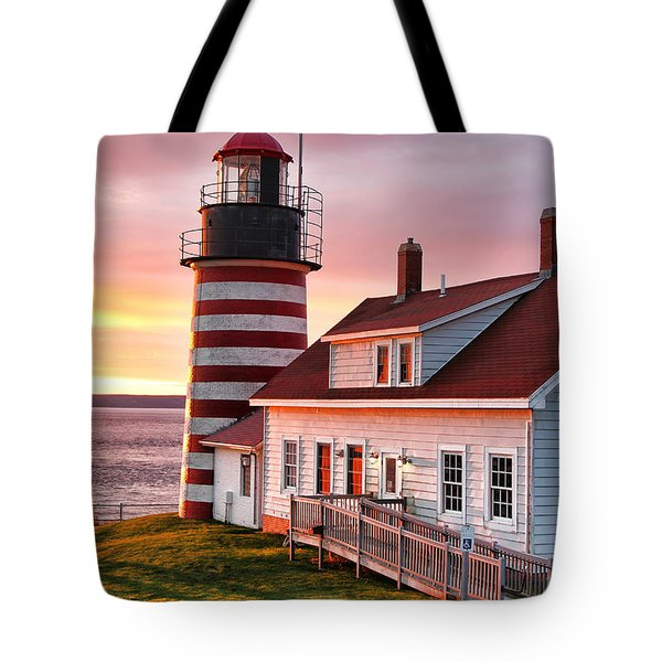 West Quoddy Head Lighthouse 3747 Tote Bag