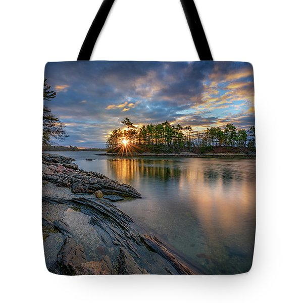Sunrise At Wolfe's Neck Woods Tote Bag