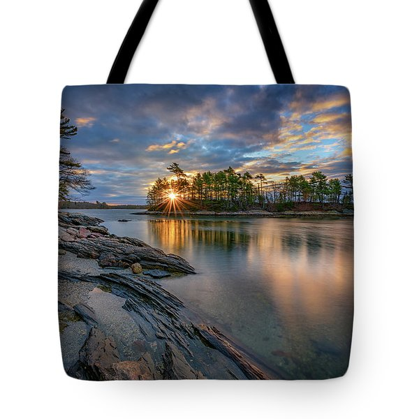 Tote Bag featuring the photograph Sunrise At Wolfe's Neck Woods by Rick Berk
