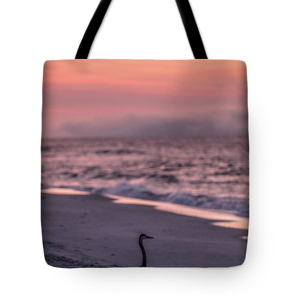 Tote Bag featuring the photograph Sunrise Beach And Bird by John McGraw
