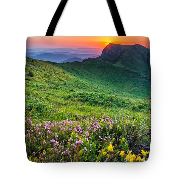 Sunrise Behind Goat Wall Tote Bag by Evgeni Dinev