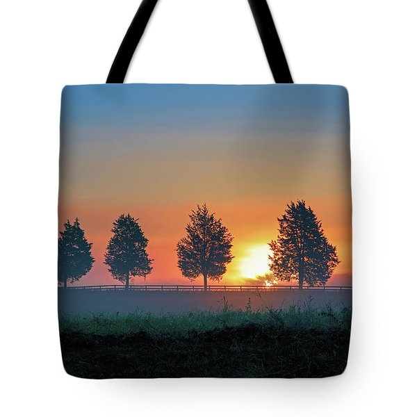 Tote Bag featuring the photograph Sunrise Behind The Cedars by Lori Coleman