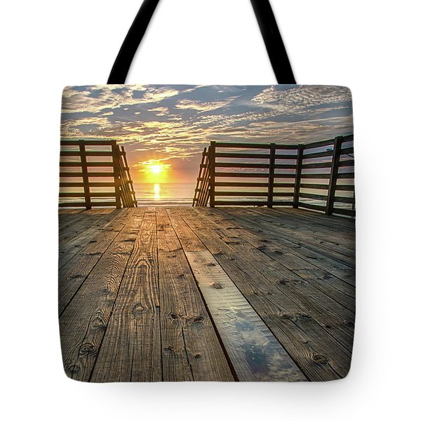 Sunrise Boardwalk Tote Bag