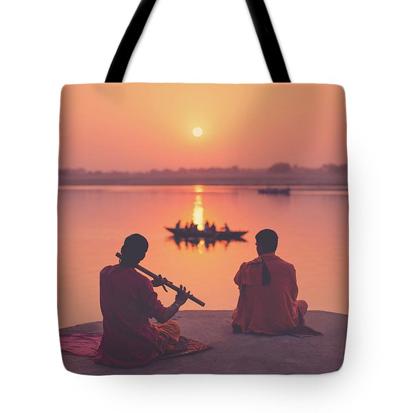 Sunrise By The Ganges Tote Bag by Marji Lang