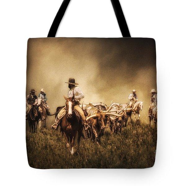 Sunrise Cattle Drive Tote Bag