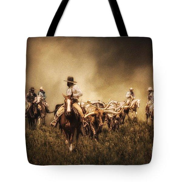 Sunrise Cattle Drive Tote Bag by Priscilla Burgers
