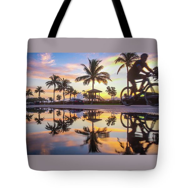 Sunrise Cyclist Delray Beach Florida Tote Bag