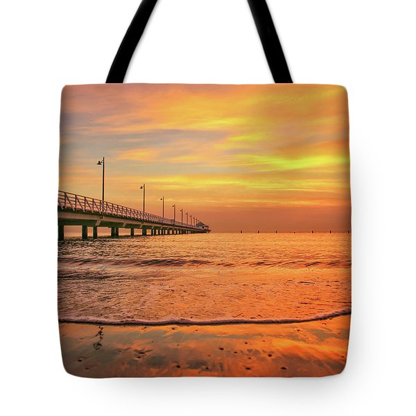 Sunrise Delight On The Beach At Shorncliffe Tote Bag