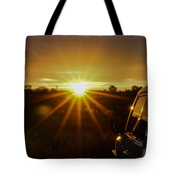 Sunrise And My Ride Tote Bag