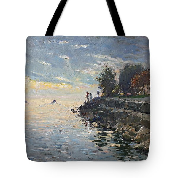 Sunrise Fishing Tote Bag