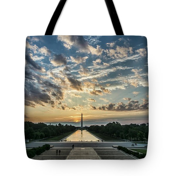 Sunrise From The Steps Of The Lincoln Memorial In Washington, Dc  Tote Bag