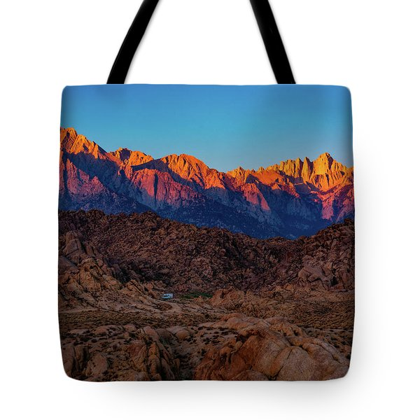 Tote Bag featuring the photograph Sunrise Illuminating The Sierra by John Hight