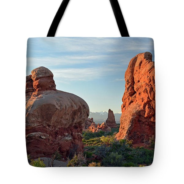 Tote Bag featuring the photograph Sunrise In Arches National Park by Bruce Gourley