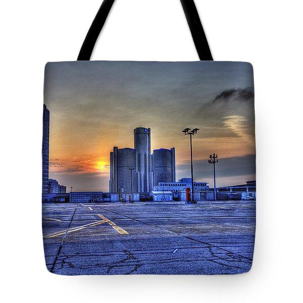 Sunrise In Detroit Mi Tote Bag by Nicholas  Grunas