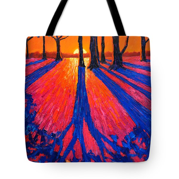 Sunrise In Glory - Long Shadows Of Trees At Dawn Tote Bag