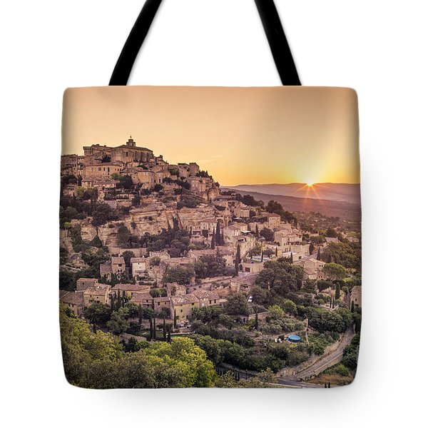 Tote Bag featuring the photograph Sunrise In Gordes Provence  by Juergen Held