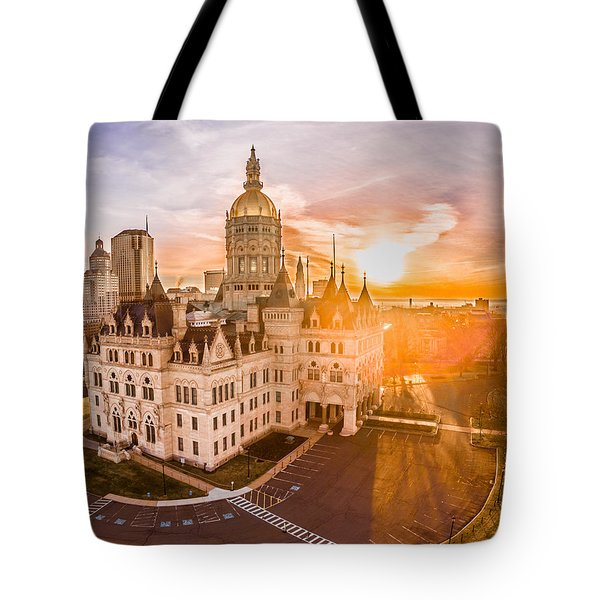 Sunrise In Hartford Connecticut Tote Bag by Petr Hejl