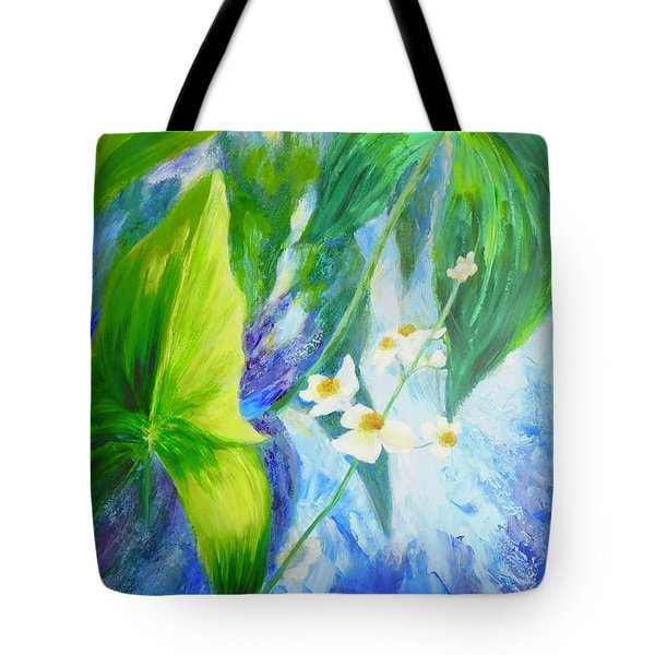 Tote Bag featuring the painting Sunrise In My Garden by Irene Hurdle