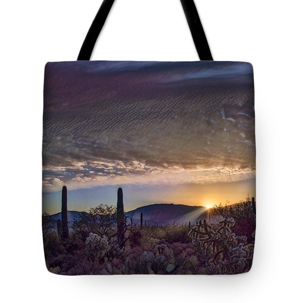 Tote Bag featuring the photograph Sunrise In Sabino Canyon Remix by Dan McManus