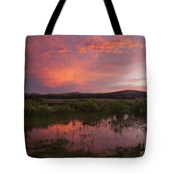 Sunrise In The Wichita Mountains Tote Bag by Iris Greenwell
