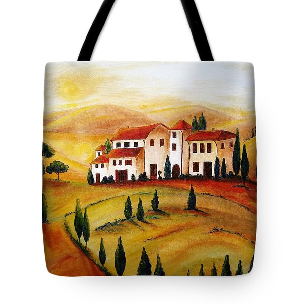 Sunrise In Tuscany Tote Bag by Christine Huwer