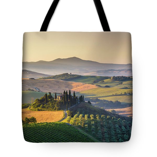 Sunrise In Tuscany Tote Bag by JR Photography