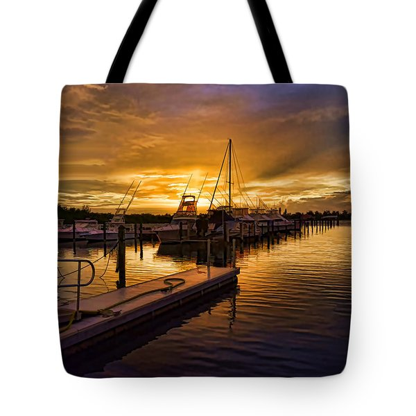 Tote Bag featuring the photograph Sunrise Marina by Don Durfee