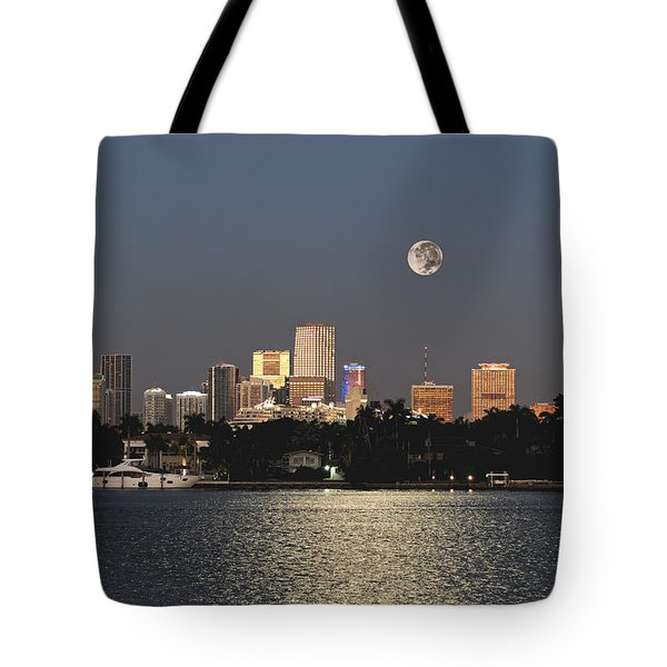 Sunrise Moon Over Miami Tote Bag