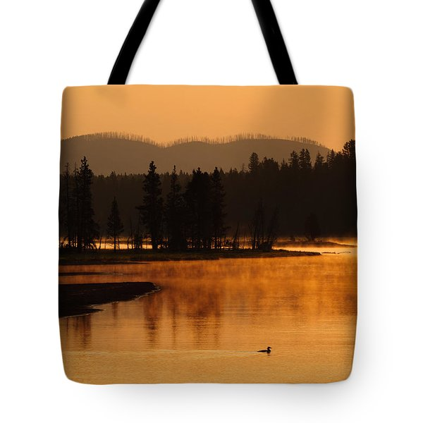 Sunrise Near Fishing Bridge In Yellowstone Tote Bag