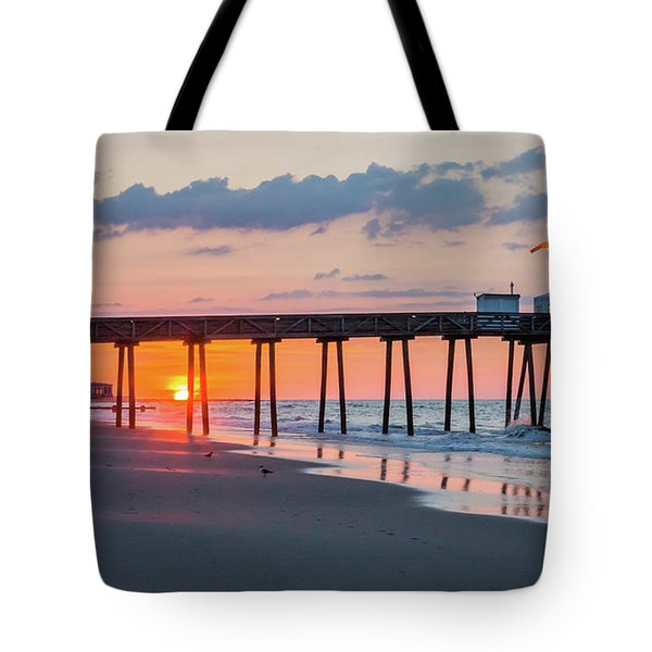 Sunrise Ocean City Fishing Pier Tote Bag by Photographic Arts And Design Studio