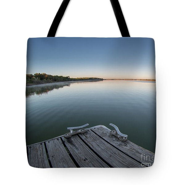 Sunrise On A Clear Morning Over Large Lake With Fog On Top, From Tote Bag