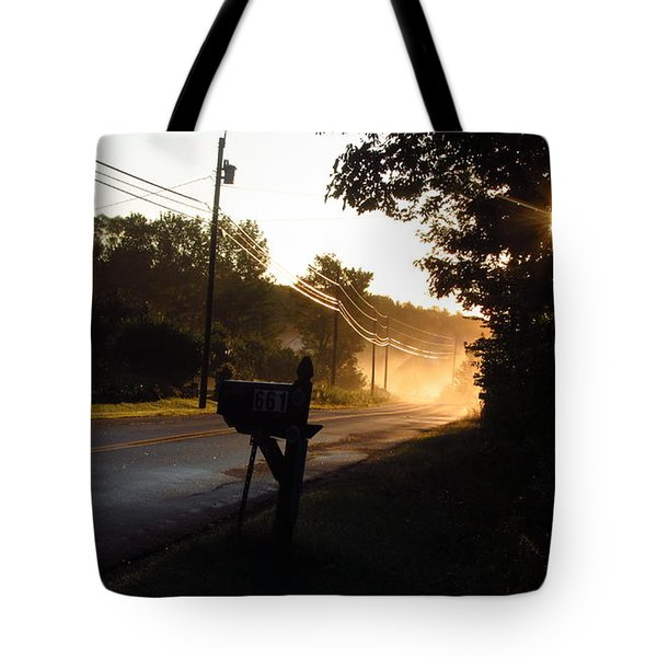 Sunrise On A Country Road Tote Bag