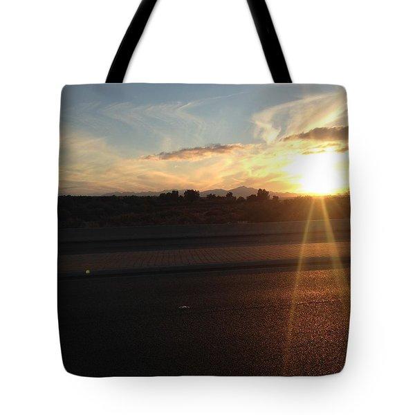 Sunrise On Asphalt Tote Bag