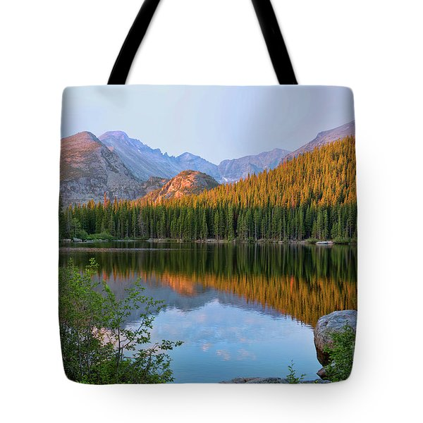 Sunrise On Bear Lake Rocky Mtns Tote Bag by Teri Brown