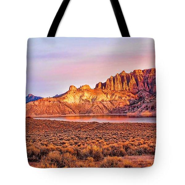 Sunrise On Dillon Pinnacles Tote Bag