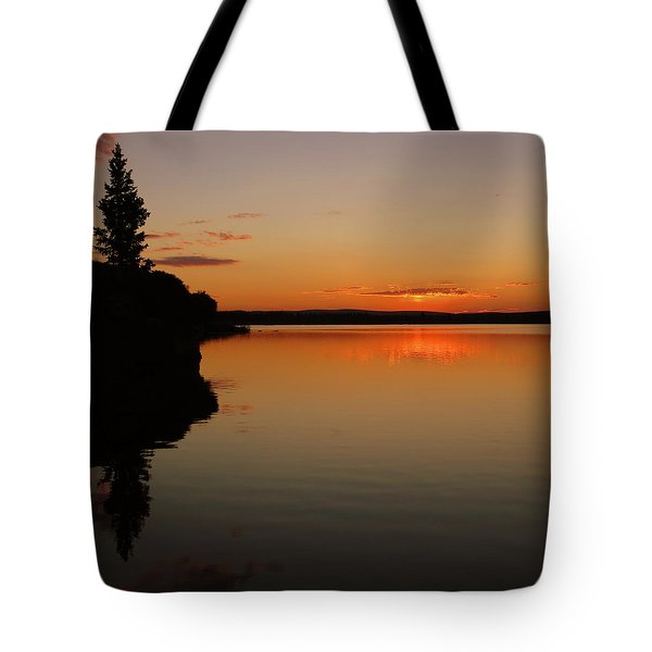 Sunrise On Heart Lake Tote Bag by Karen Shackles