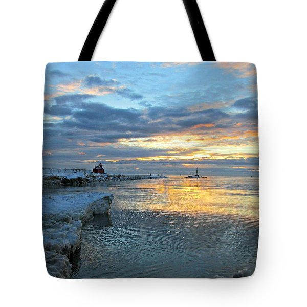 Tote Bag featuring the photograph Sunrise On Ice by Greta Larson Photography