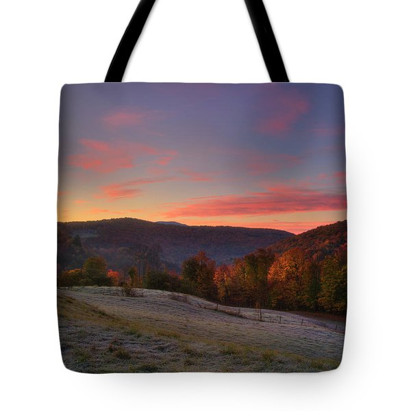 Tote Bag featuring the photograph Sunrise On Jenne Farm - Vermont Autumn by Joann Vitali