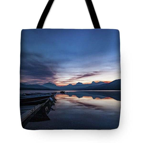 Tote Bag featuring the photograph Sunrise On Mcdonald Lake by Lon Dittrick