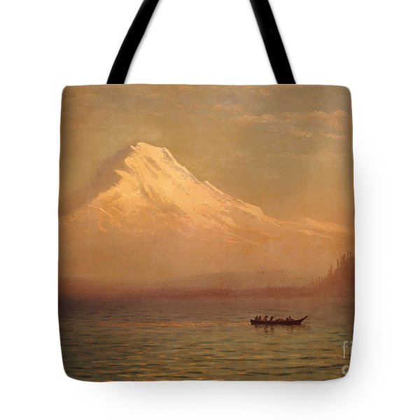Sunrise On Mount Tacoma  Tote Bag by Albert Bierstadt