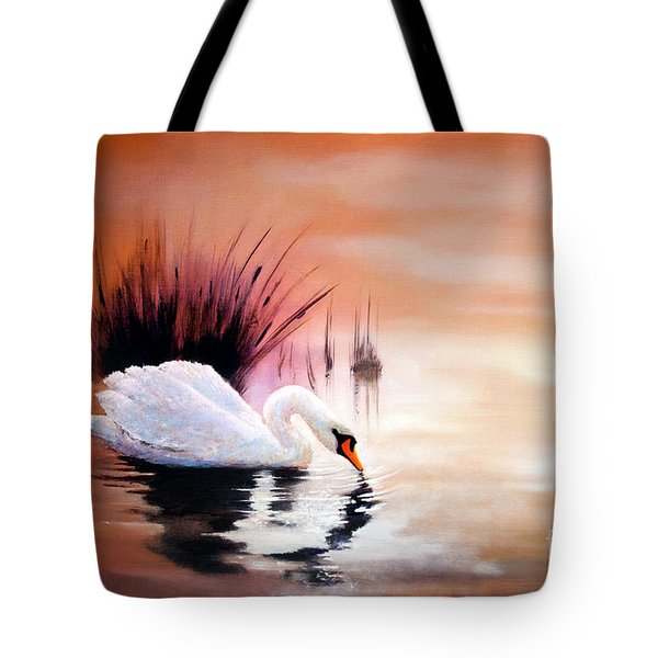 Tote Bag featuring the painting Sunrise On Swan Lake by Michael Rock