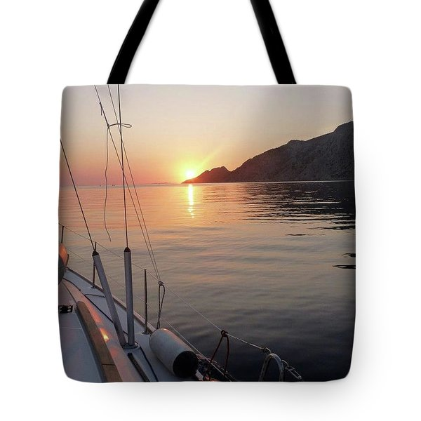 Sunrise On The Aegean Tote Bag by Christin Brodie